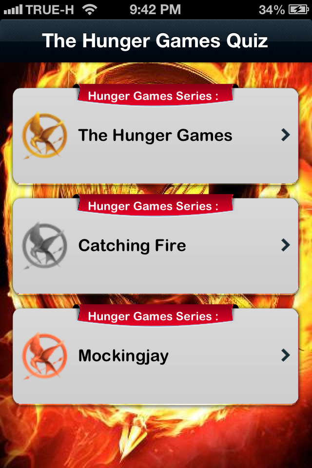 Screenshot iQuiz for The Hunger Games trilogy ( Trivia )